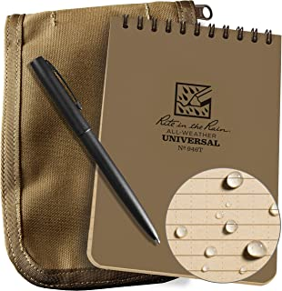 "Rite in the Rain Weatherproof 4"" x 6"" Top Spiral Notebook Kit: Tan CORDURA Fabric Cover, 4"" x 6"" Tan Notebook, and an Weat..."