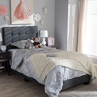 Baxton Studio Fabric Twin Size Platform Bed in Dark Gray Finish