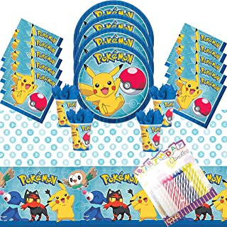 Pokemon Theme Party Plates Napkins Cups and Table Cover Sevres 16 with Birthday Candles - Pokemon Party Supplies Deluxe (Bundle for 16)