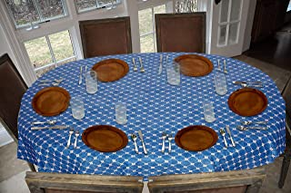 Covers For The Home Deluxe Stitched Edged Flannel Backed Vinyl Drop Tablecloth - Fashion Diamond (Blue) Pattern - 54