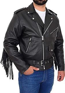 Mens Leather Biker Brando Style Jacket with Fringe Detail at The Back Wayne Black
