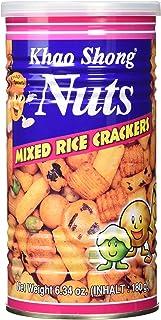 Khao Shong Mixed Rice Crackers, Reisgebäck Mischung mit überzogenen Erdnüssen und Erbsen, würzige Reiscracker, Snack-Vielfalt für unterwegs, 1er Pack, 1 x 180 g