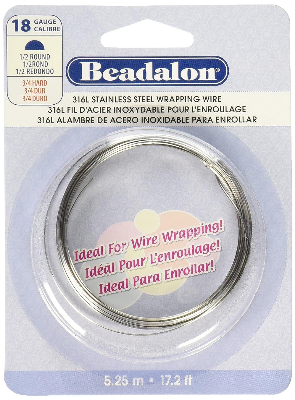 Beadalon 180S-118 18-Gauge Stainless Steel Half Round Bright Wire for Jewelry Making, 5.25m