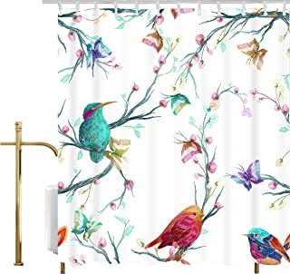 Ao blare Embroidery Style Watercolor Elements Flower Bird Branches Flowers Butterfly Polyester Shower Curtain Set with Hooks 72 X 72 Inches