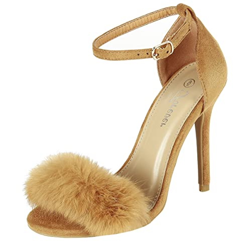 7c02e3815cf Forever Link Fluffy Feather Furry Strap High Heel Open Toe Dress Sandal