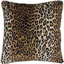 "SARO LIFESTYLE Cheetah Print Faux Fur Throw Pillow, 22"" Down Filled, Brown"