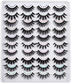 20 Pairs Faux Mink Eyelashes 10 Styles Mixed 3D Wispy Natural False Eyelashes 18mm Fluffy Volume Crossed Fake Eyelashes Mu...