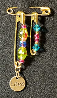 Solidarity Safety Pin 05: Handmade Art Safety Pin Jewelry - Lampwork Glass Bead Crystal
