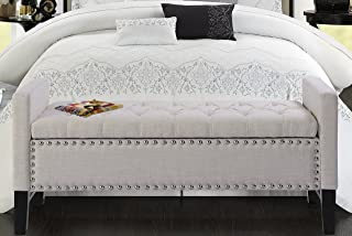 Iconic Home Lance Linen Modern Contemporary Button Tufted with Silver Nailheads Deco on Frame...