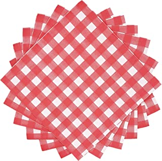 WallyE Red and White Gingham Paper Napkins, Checkered Tartan Plaid Tableware for Garden Barn Picnic or Farm Birthday Party BBQ, 40 Pack