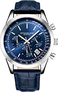 Stuhrling Original Mens Dress Watch Chronograph Analog Watch Dial with Date - Tachymeter 24-Hour Subdial Mens Leather Strap - Watches for Men Rialto Collection