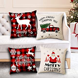 BSSN 4Pack Christmas Throw Pillow Covers, 18