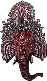 Srawen Ganesh Chaturthi Ganapati Wall Hanging, Tibetan Deity Head Mask, Hindu Lord Ganesha Wall Sculpture Art