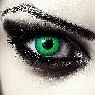 """Designlenses, twee groen gekleurde zombie halloween carnaval kostuum contact lenzen zonder dioptrieën, gratis lenshouder""""G..."""