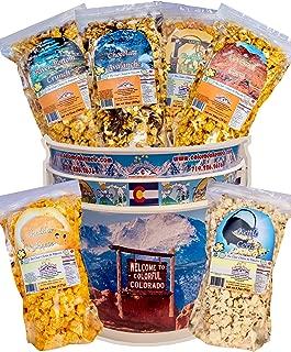 Popcorn by Colorado Kernels Popcorn Delights | 3.5 Gal CELEBRATE COLORADO MOUNTAINS Bucket | 6 lg resealable bags | Kettle Corn, Cheddar Cheese, Caramel Corn,Chocolate, Almonds/Pecans, Buffalo Ranch