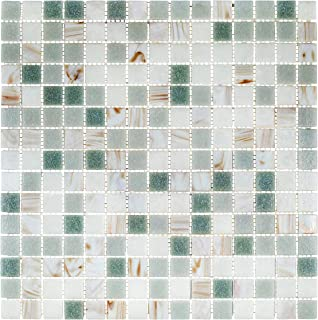 URBN Contemporary Foggy Morning Color Scheme Glass Mosaic Tile for Kitchen and Bath - Sample Tile (4-1/3 inches x 4-1/3 inches, 0.13 SQ FT)
