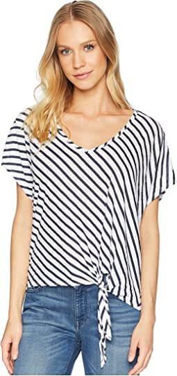 Michael Stars Rivera Stripe Soft V-Neck Top with Front Tie