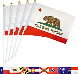 TSMD California State Stick Flag 50 Pack Small Mini Hand Held CA California Republic Flags Banner On Stick,Party Decorations for Parades,School Sports Event,International Festival Celebration