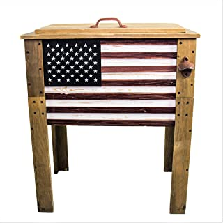 BACKYARD EXPRESSIONS PATIO · HOME · GARDEN 909939 Wooden American Patio Beverage Cooler for Outdoors, Decorative with Flag