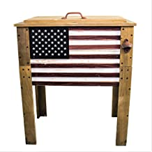 BACKYARD EXPRESSIONS PATIO · HOME · GARDEN 909939 Wooden American Flag Patio Beverage Cooler for Outdoors, Decorative