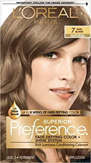 L'Oreal Paris Superior Preference Fade-Defying Color + Shine System, 7 Dark Blonde (Packaging May Vary), 1 Count