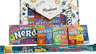 Picaboxx Premium Large Wonka Nerds Caja de regalo American Candy Selection ★ 8 productos Value Pack ★ American Candy Hamper ★ Caja de regalo dulce con ventana de visualización