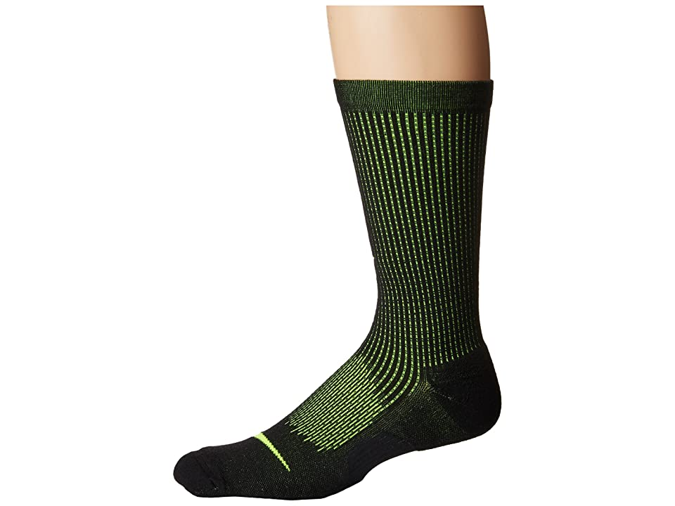 Nike Elite Cushioned Running Merino Crew Socks (Black/Volt/Volt) Crew Cut Socks Shoes