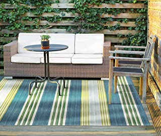 Waverly Sun N Shade Blue and Green Striped Indoor-Outdoor Rug 5'3