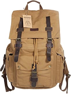 Outdoor Canvas Backpack Hiking Camping Rucksack Heavy Duty Daypack School Backpack for Men and Women