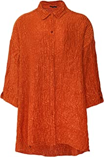 Grizas Women's Linen & Silk Embossed Floral Shirt Orange