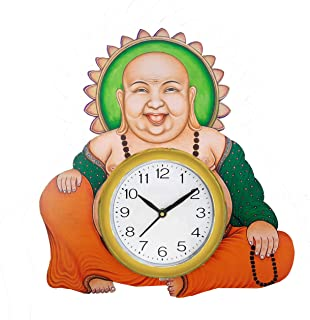 Shiva arts Hand Painted Beautifully Handcrafted UV Printed Laughing Buddha Feng Shui Wooden Wall Clock for Home/office (Mu...