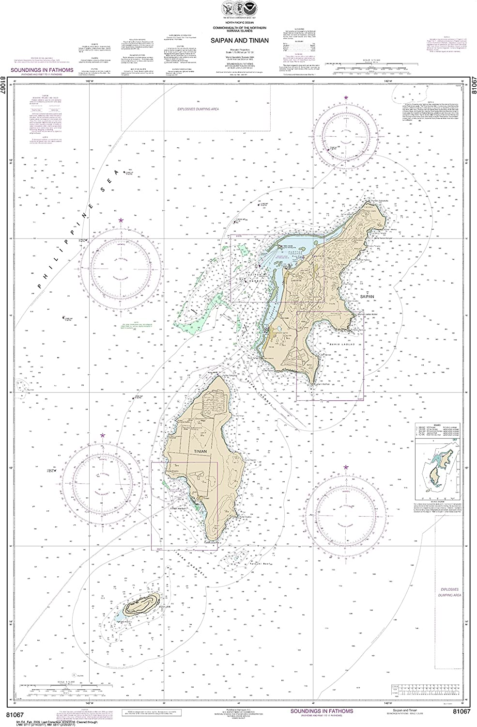 noaa chart 81067 commonwealth of the northern mariana islands saipan and  tinian 46 09 x 30 1 laminated