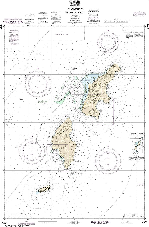 NOAA Chart 81067 Commonwealth of The Northern Mariana Islands Saipan and Tinian  46.09  X 30.1  Laminated Map