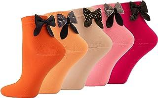 5 pares de calcetines cortos, lazo, algodón fino, para niñas y mujeres, fabricado en Europa