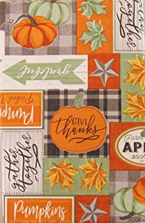 Gather Together Autumn Patchwork Vinyl Flannel Back Tablecloth (60