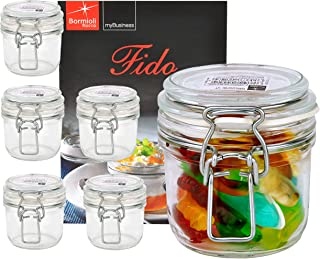 Bormioli Rocco 6er Set Drahtbügelglas FIDO, 200 ml, Einmachglas mit Bügelverschluss, inkl. Rezeptheft