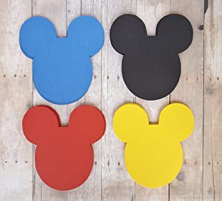Mickey Mouse Head Die Cut Place Card Labels in Black Red Blue Yellow 20 Pieces