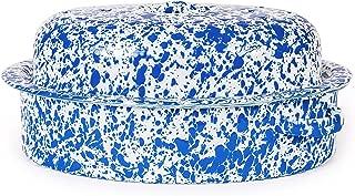 Enamelware Oval Covered Roaster, 3 quart, Blue/White Splatter