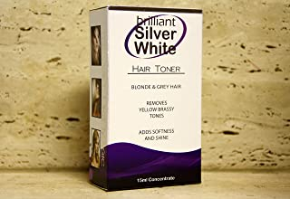 Brilliant Silver White Hair Toner, 30 applications per bottle for blonde and grey hair, no more brassiness and easy to apply