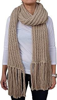 Sciarpona con frange fatta a maglia sciarpa invernale col. Beige prodotta in Italia Made in Italy