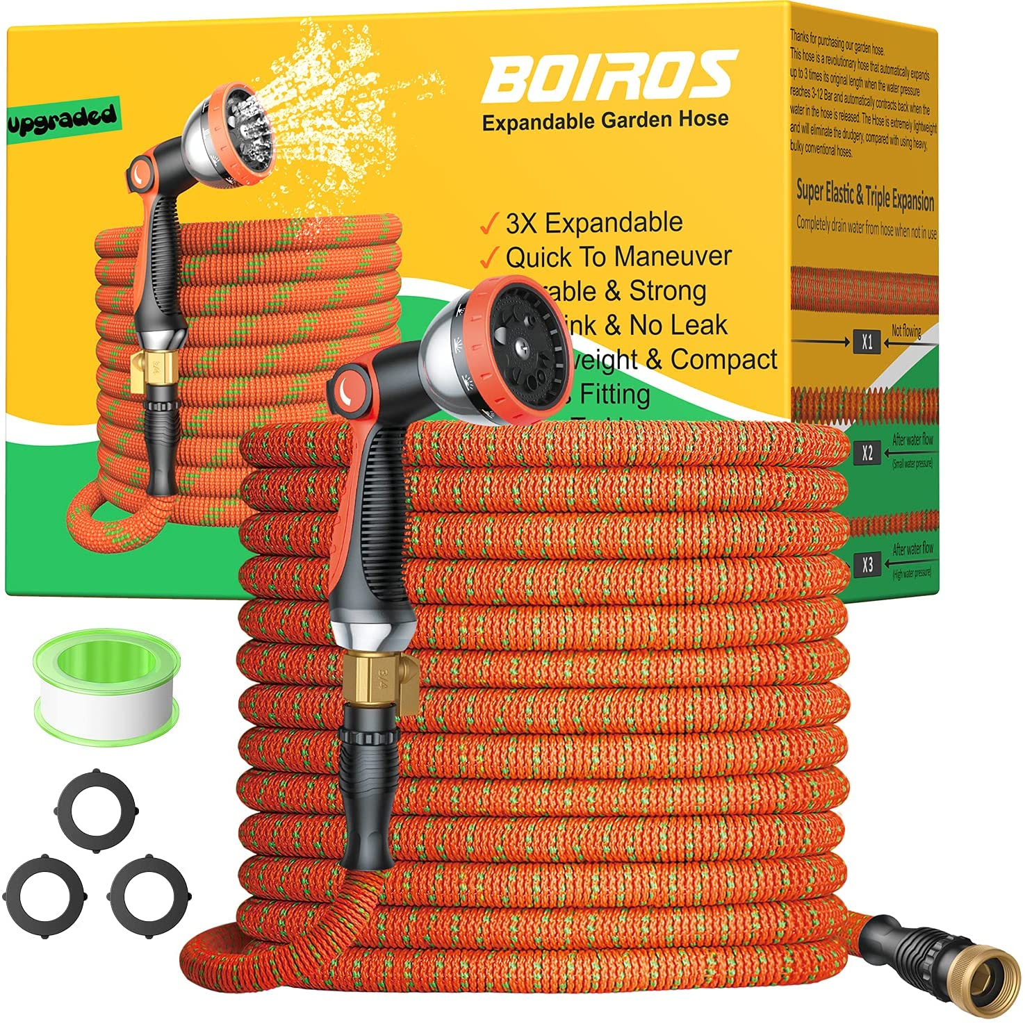 BOIROS price Garden Hose 100ft Expandable wit Water and Flexible Industry No. 1