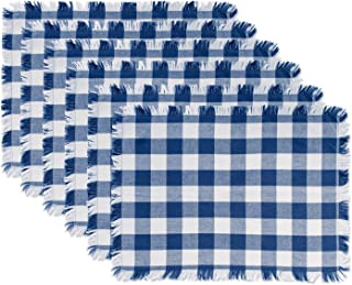 DII CAMZ37570 Heavyweight Fringed MT Check S/6, Placemats, Checkered Navy, 6 Piece