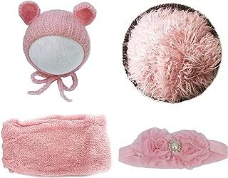 Jay-EE Newborn 4Pcs Photography Props Set Baby Photo Prop Ripple Stretch Wrap, Headband, Ears Hat, Faux Fur Backdrop Blanket