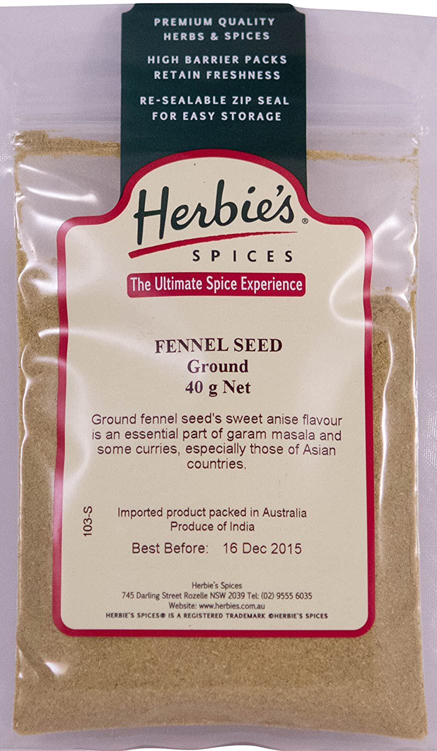 Herbie's Spices Fennel Seed - Popular shop is the lowest price challenge Max 89% OFF 40g Ground