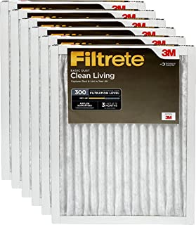 Filtrete 18x18x1, AC Furnace Air Filter, MPR 300, Clean Living Basic Dust, 6-Pack