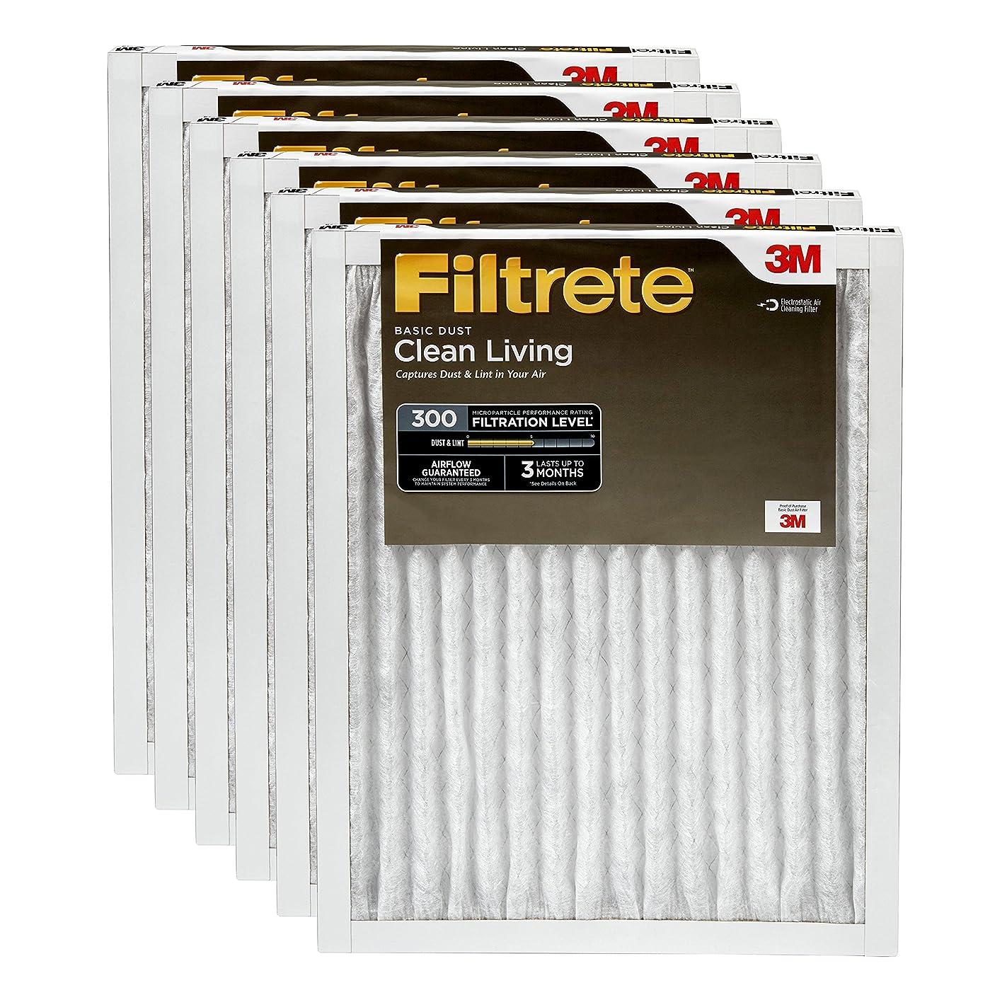 Filtrete 16x25x1, AC Furnace Air Filter, MPR 300, Clean Living Basic Dust, 6-Pack
