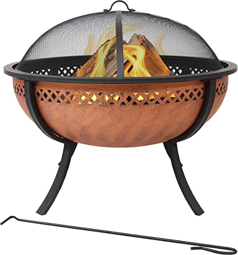 Sunnydaze Steel Fire Pit Bowl with Crossweave Border Cutout - Outdoor Metal Wood-Burning Fire Feature with Poker and Spark Screen for Patio and Backyard Bonfire - Copper Finish - 32.25-Inch