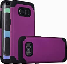 For samsung galaxy s8 Case, iBarbe Protective Dual Layer 2 in 1 Reinforced Flexible Soft rubber Silicone + Hard Plastic PC Shock-Proof Bumper Scratch-Resistant Shell corver (purple/black)