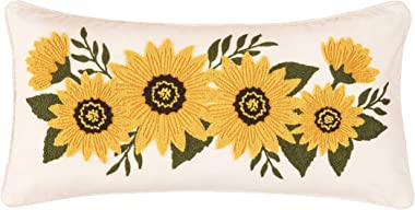 C&F Home Sunflower Garland Pillow Fall Autumn Floral Decorative Throw Pillow for Couch Chair Living Room Bedroom 12 x 24 Yell