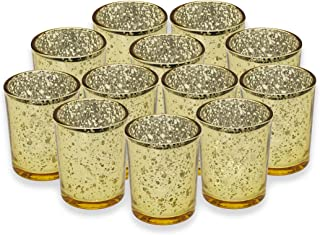 Tea Lights Holder - Gold - (12 set) - Candle Decorations - Light Candleholders - Wedding Decorations - Thanksgiving Centerpiece - Glass Tealight Holder - Party Decoration - Votive - Mercury Glass
